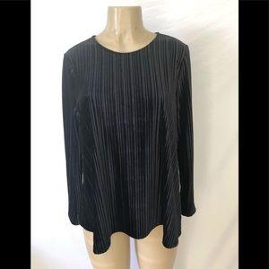 J Jill long sleeve black velvet top size M